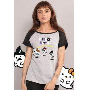 Camiseta Raglan Feminina Hello Kitty Have A Happy Halloween