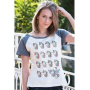 Camiseta Raglan Feminina Hello Kitty Magical Creatures