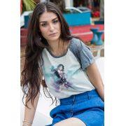 Camiseta Raglan Feminina Wonder Woman Watercolor