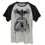 Camiseta Raglan Masculina Batman Melting Sketch Oficial