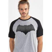 Camiseta Raglan Masculina Batman Vs Superman Logo Batman