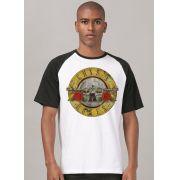Camiseta Raglan Masculina Guns N' Roses Logo Bullet