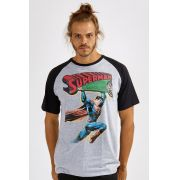 Camiseta Raglan Masculina Superman 80 Anos Action Comics Nº 1
