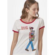 Camiseta Ringer Feminina Aonde Está o Wally? Book Worm