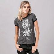 Camiseta Ringer Feminina Liga da Justiça You Can't Save Oficial