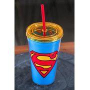Copo com Tampa e Canudo Superman Logo