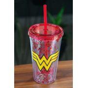 Copo com Tampa e Canudo Transparente Wonder Woman Logo