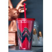 Copo com Tampa e Canudo Wonder Woman Logo Movie Glitter