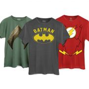 Kit 3 Camisetas Heróis DC Comics Batman The Flash Aquaman