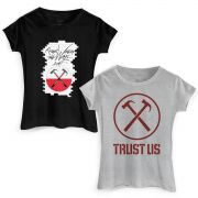 Kit Show 2 Camisetas Roger Waters The Wall e Trust Us Feminina