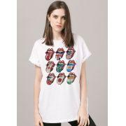 T-shirt Feminina The Rolling Stones Logos