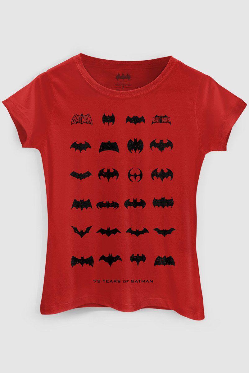 Camiseta Feminina Batman 75 Anos Logos Collection 2  - bandUP Store Marketplace
