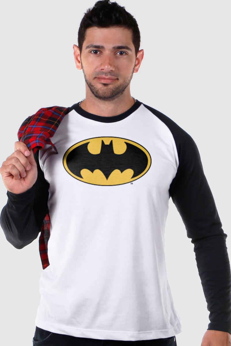 Camiseta Manga Longa Raglan Masculina Batman Logo Clássico  - bandUP Store Marketplace
