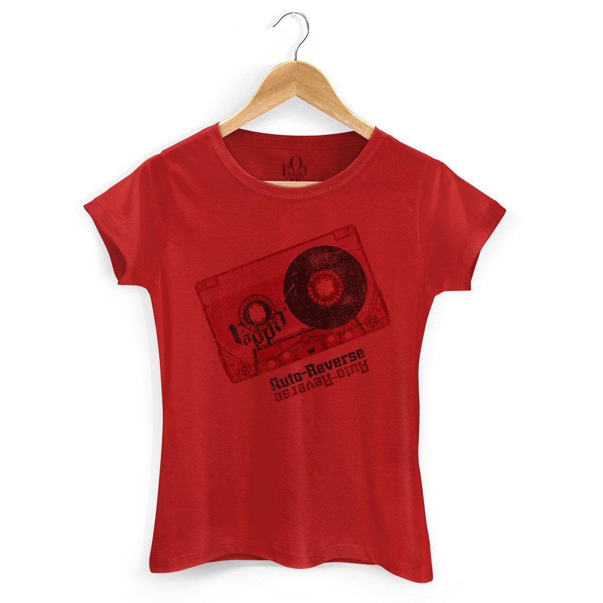 Camiseta Feminina O Rappa Auto-Reverse Vermelha  - bandUP Store Marketplace