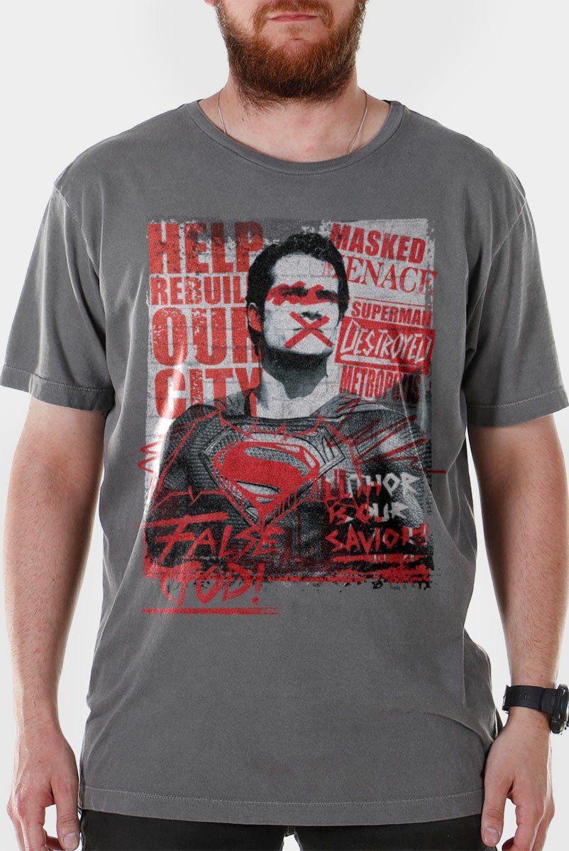 T-shirt Premium Masculina Batman VS Superman False God  - bandUP Store Marketplace