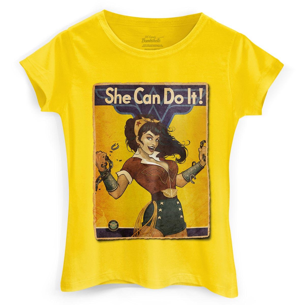 Camiseta Feminina Wonder Woman She Can Do It!  - bandUP Store Marketplace