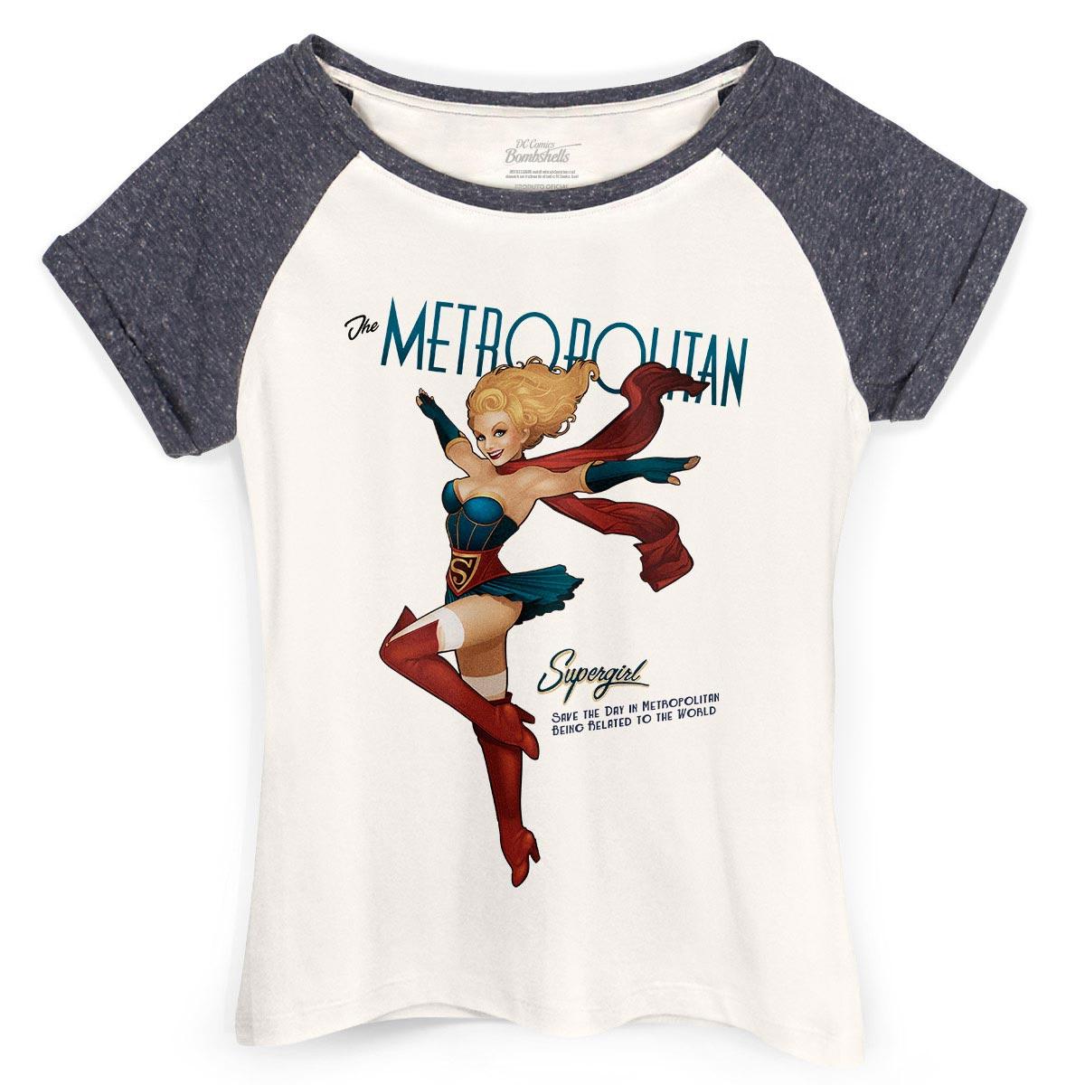 Camiseta Raglan Feminina Supergirl Metropolitan  - bandUP Store Marketplace