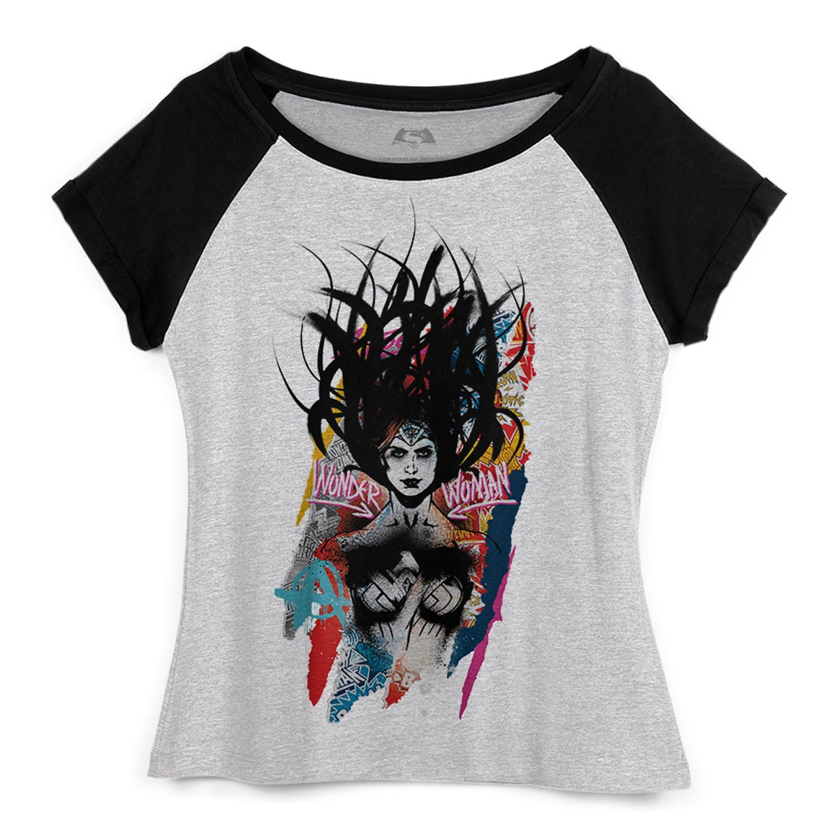 Camiseta Raglan Feminina Wonder Woman Anarchy  - bandUP Store Marketplace