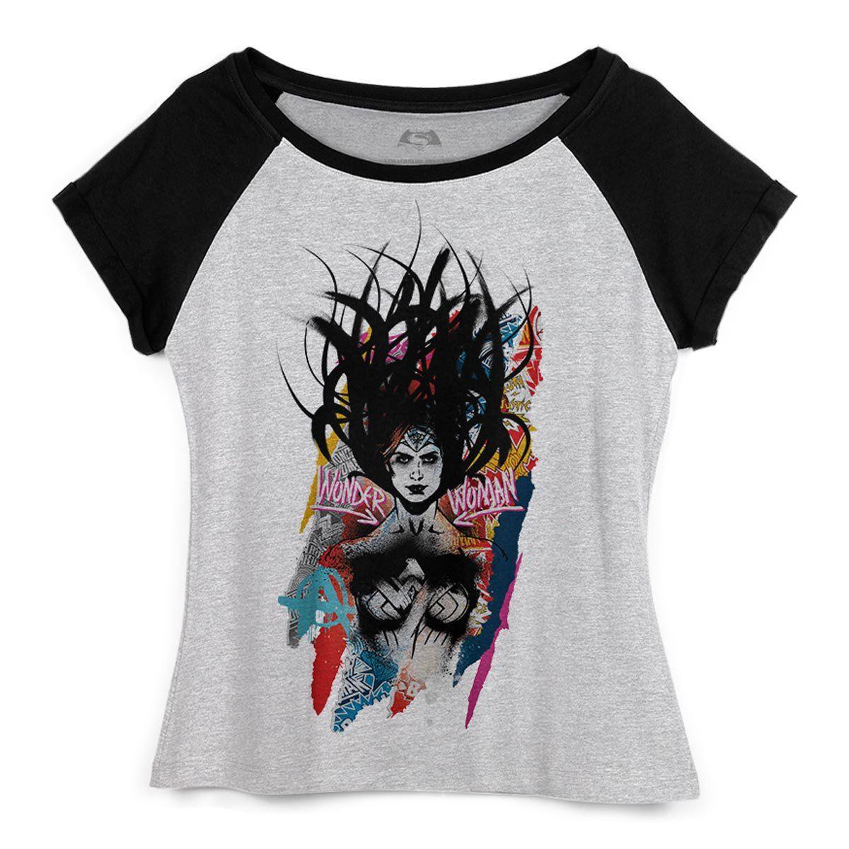 Camiseta Raglan Feminina Wonder Woman Anarchy  - bandUP Store Marketplace