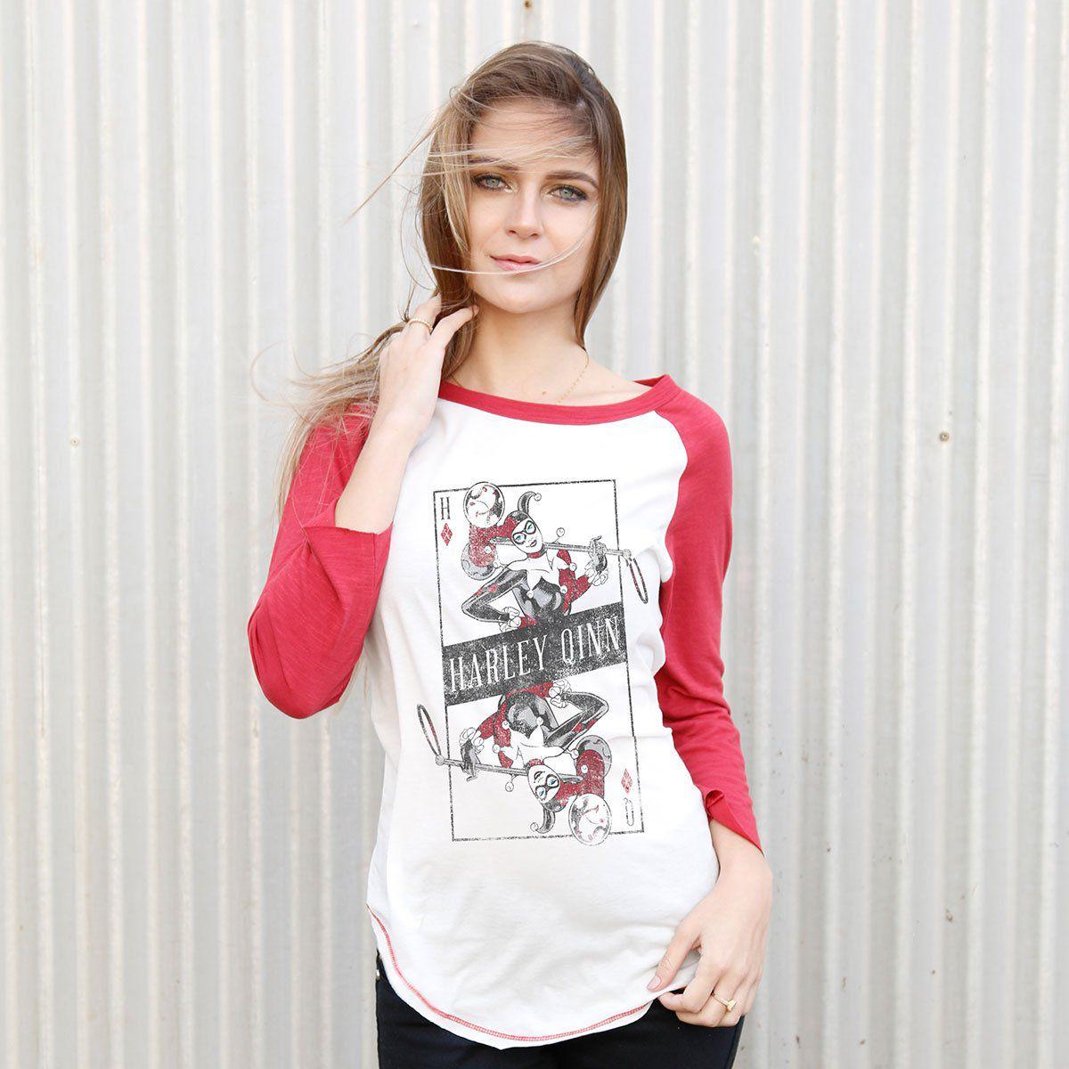 Camiseta Raglan Feminina Harley Quinn Danger Card  - bandUP Store Marketplace