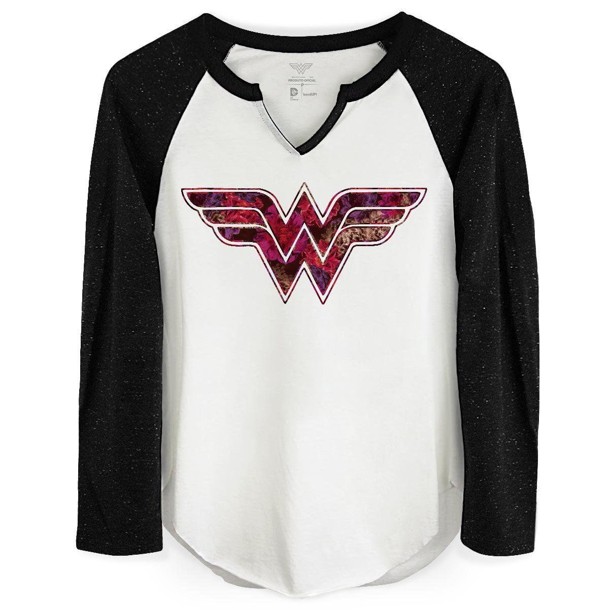 Camiseta Raglan Feminina Wonder Woman Logo Fashion  - bandUP Store Marketplace