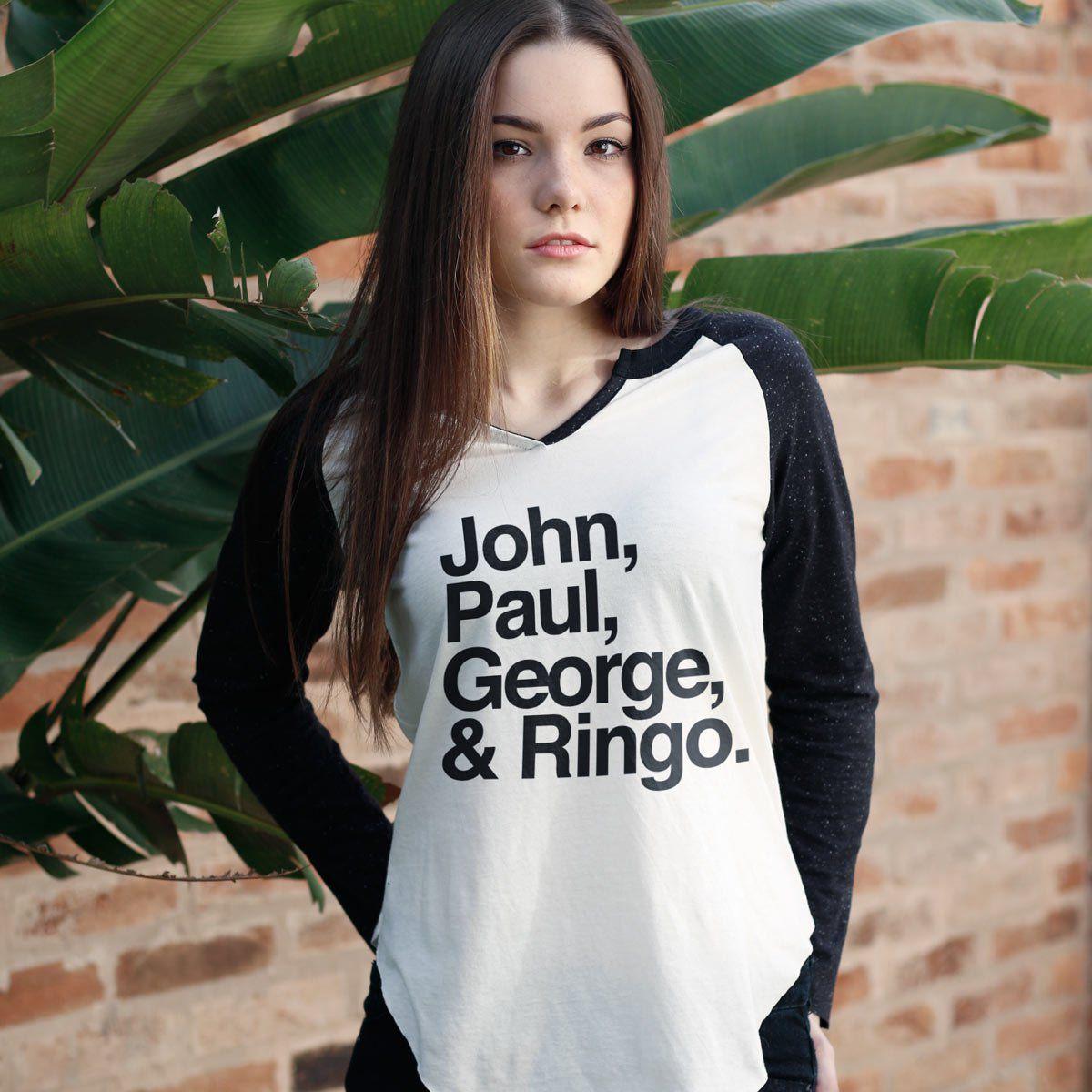 Camiseta Manga Longa Feminina The Beatles Names  - bandUP Store Marketplace