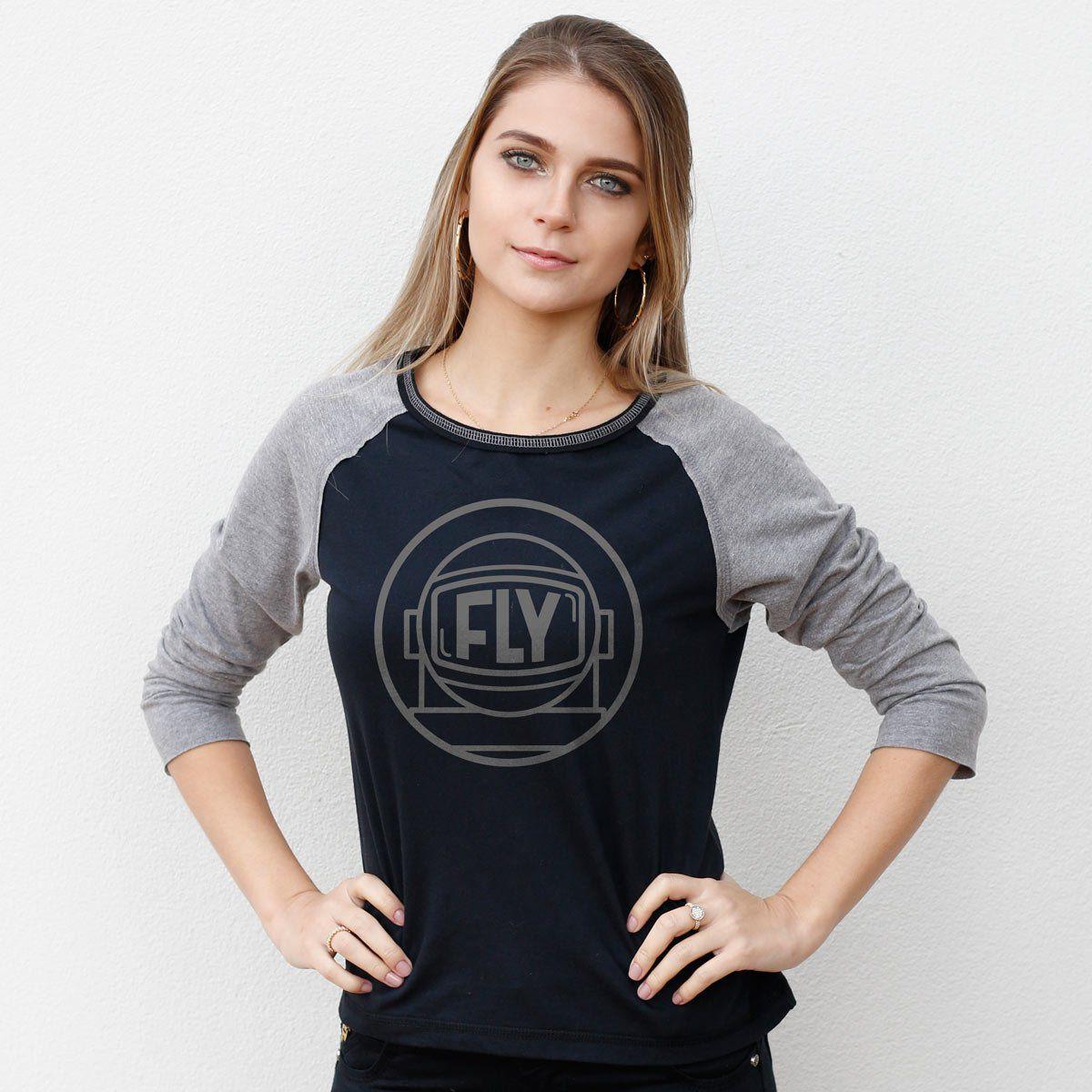 Camiseta Manga Longa Feminina Banda Fly Astronauta  - bandUP Store Marketplace