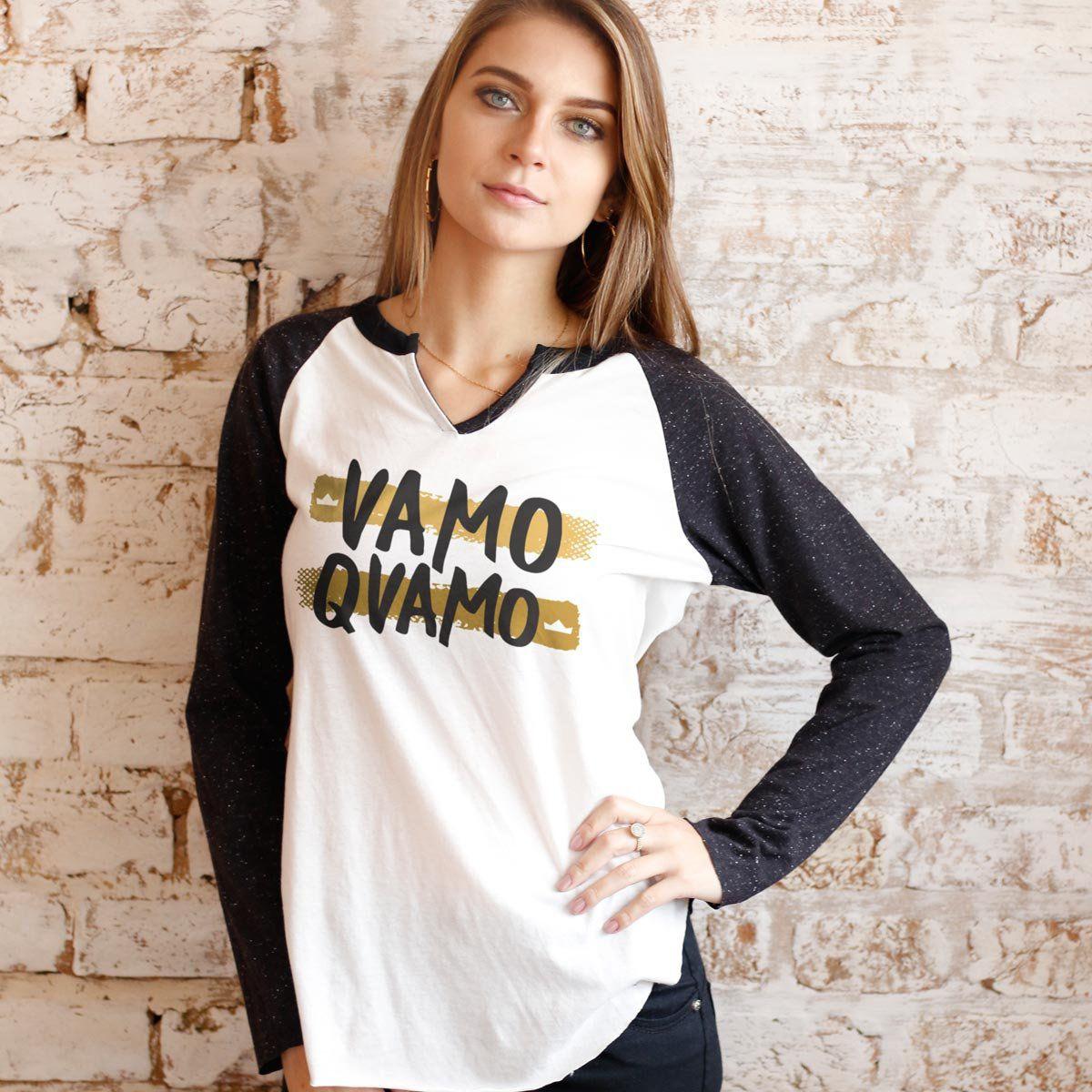 Camiseta Manga Longa Feminina Thiaguinho #VamoQVamo Gold  - bandUP Store Marketplace