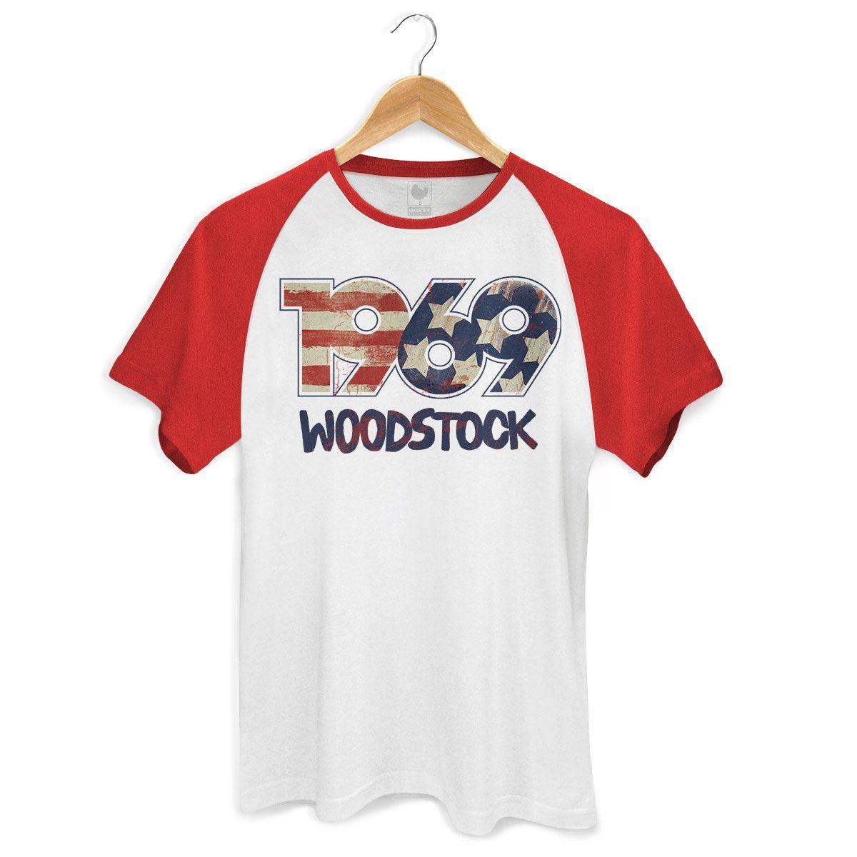 Camiseta Raglan Premium Masculina Woodstock 1969  - bandUP Store Marketplace