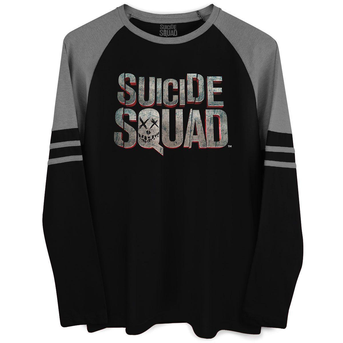 Blusa Raglan Masculina Esquadrão Suicida Logo  - bandUP Store Marketplace