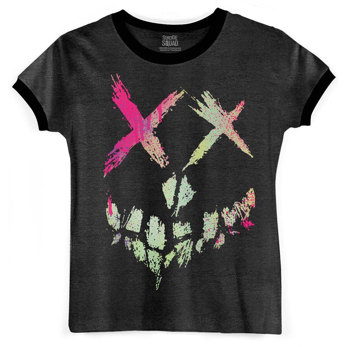 Camiseta Ringer Feminina Esquadrão Suicida Skull Logo  - bandUP Store Marketplace