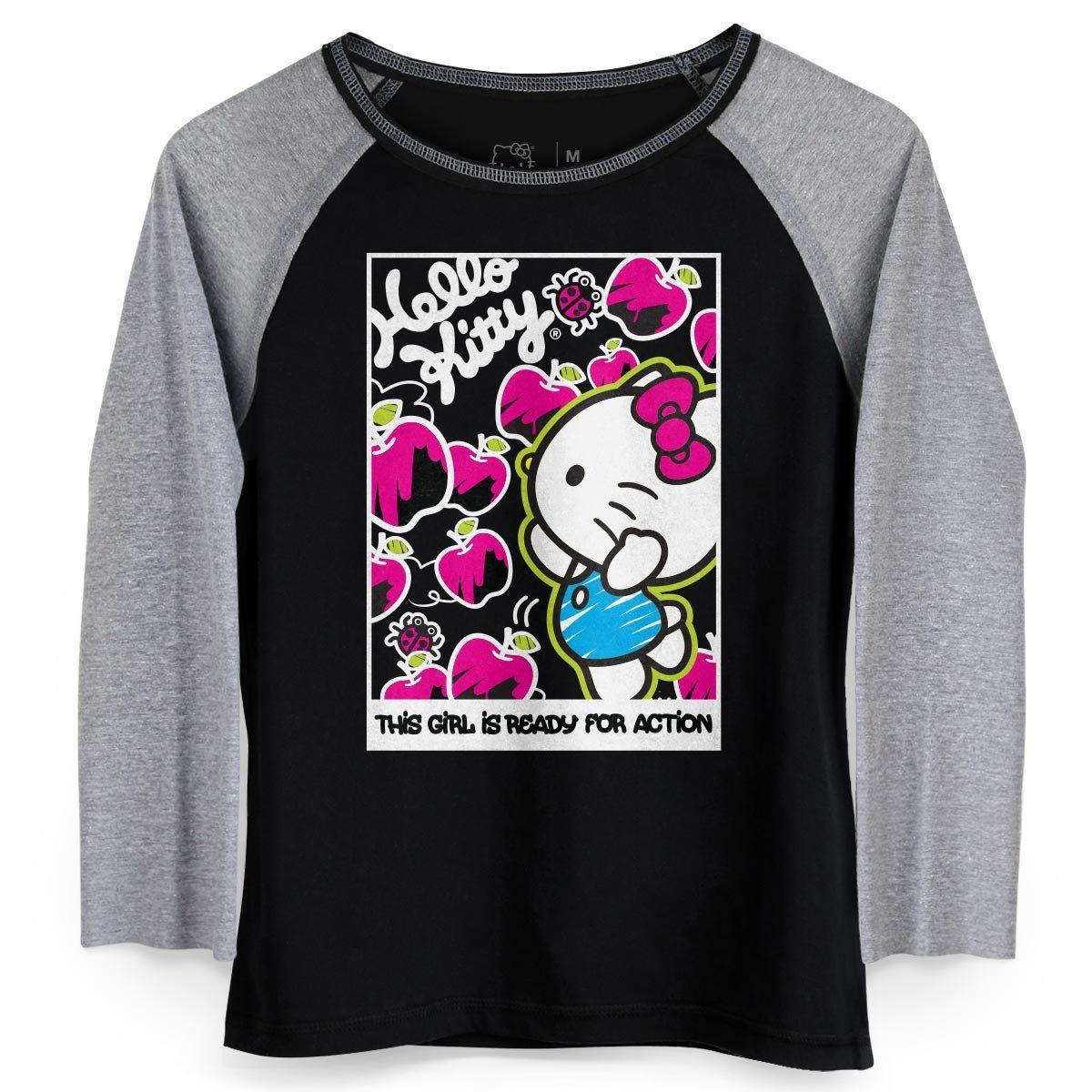 Camiseta Manga Longa Feminina Hello KItty Ready for Action  - bandUP Store Marketplace