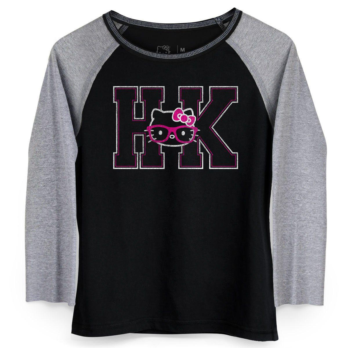 Camiseta Manga Longa Feminina Hello KItty HK Pink Glasses  - bandUP Store Marketplace
