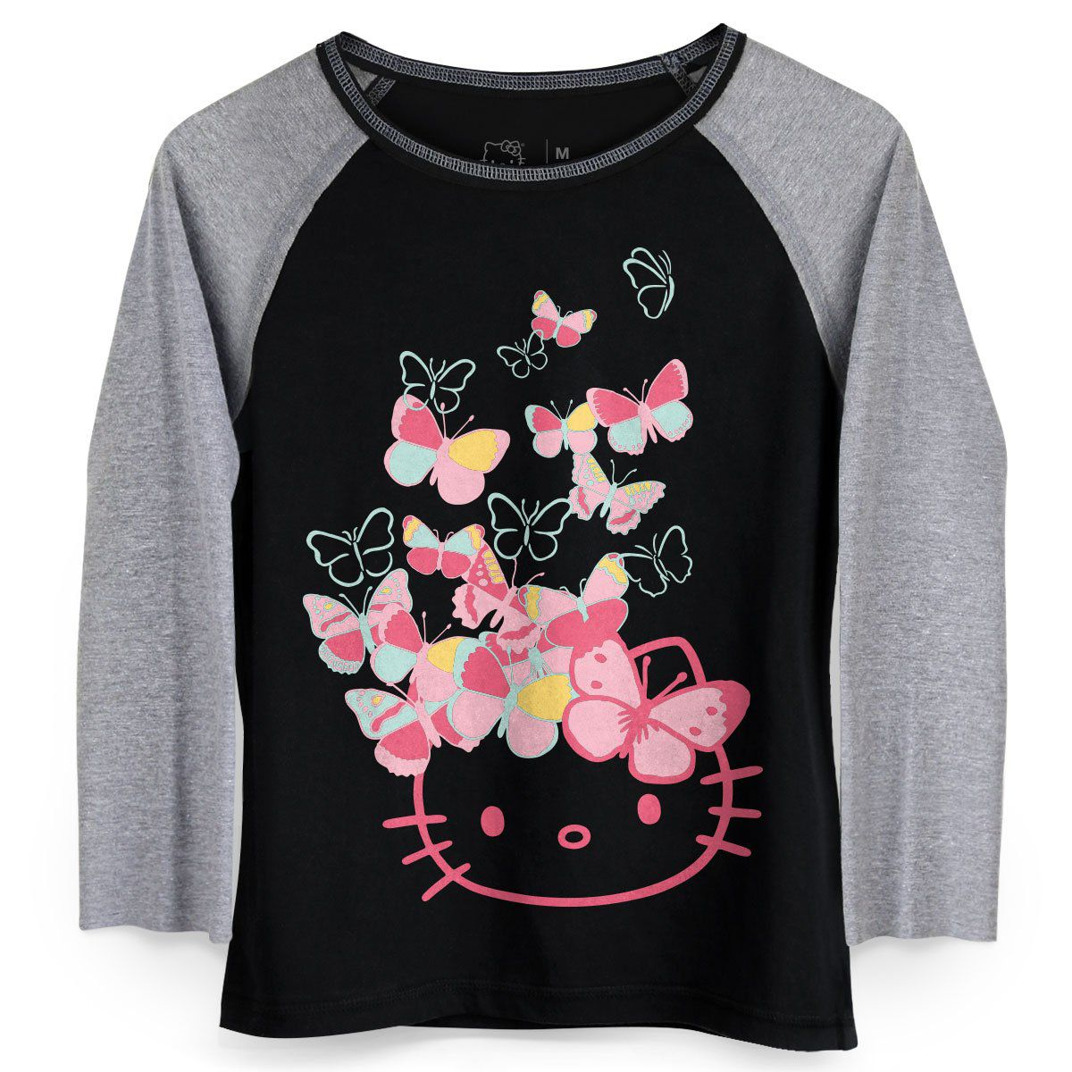 Camiseta Manga Longa Feminina Hello KItty Butterflies Party  - bandUP Store Marketplace