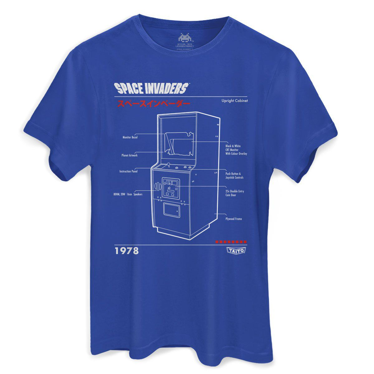 Camiseta Masculina Space Invaders Upright Cabinet Blue  - bandUP Store Marketplace