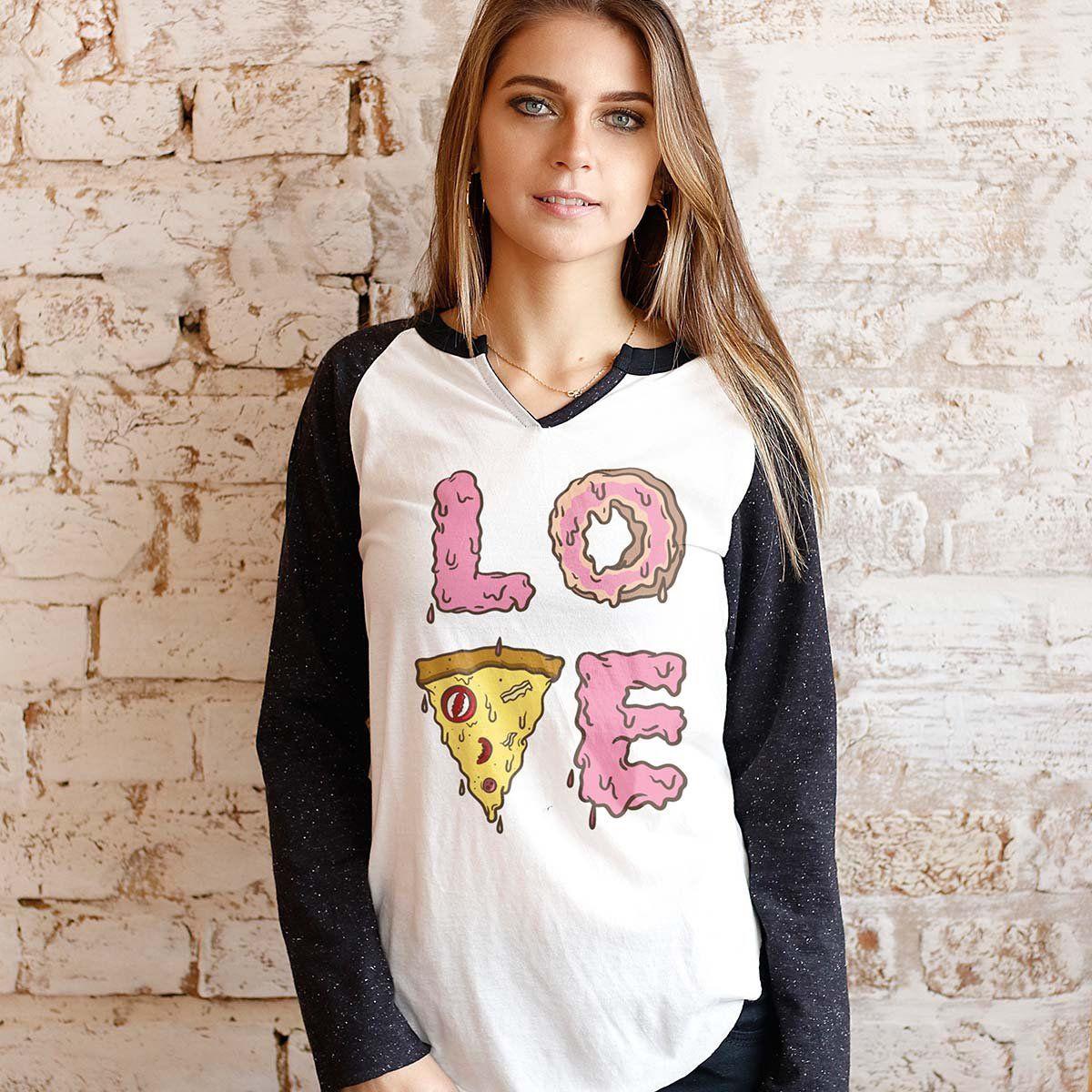Camiseta Manga Longa Feminina TodaTeen Love Pizza  - bandUP Store Marketplace