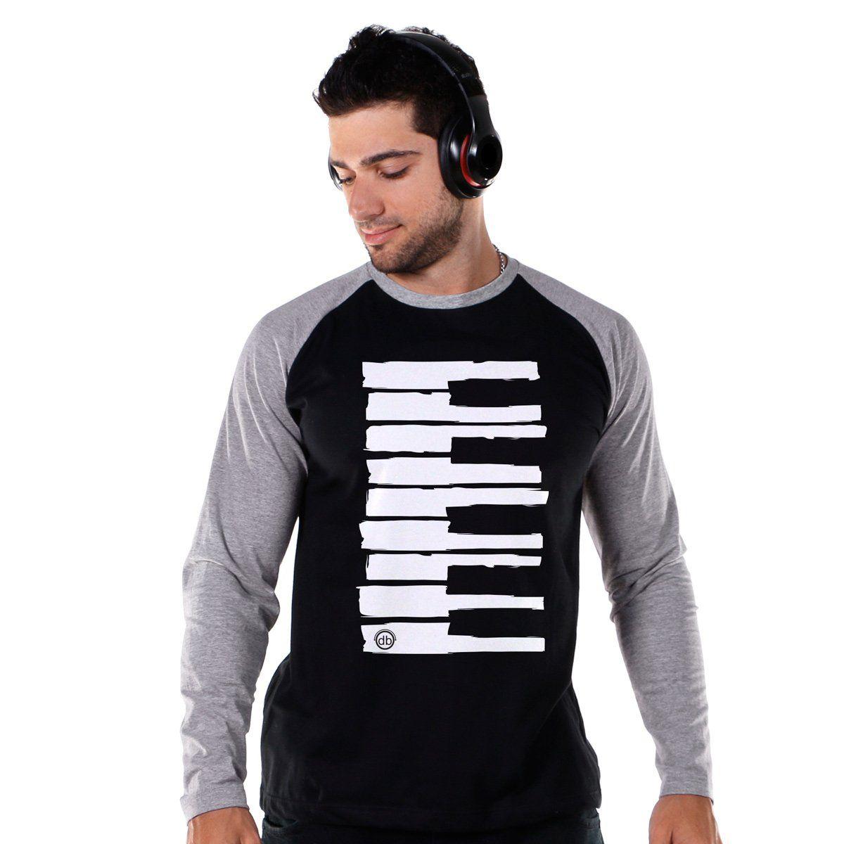 Camiseta Raglan Masculina Dudu Borges Musical Keyboard  - bandUP Store Marketplace