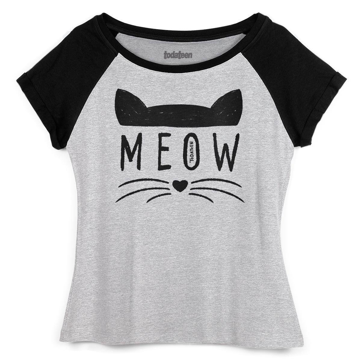 Camiseta Raglan Feminina TodaTeen Meow  - bandUP Store Marketplace