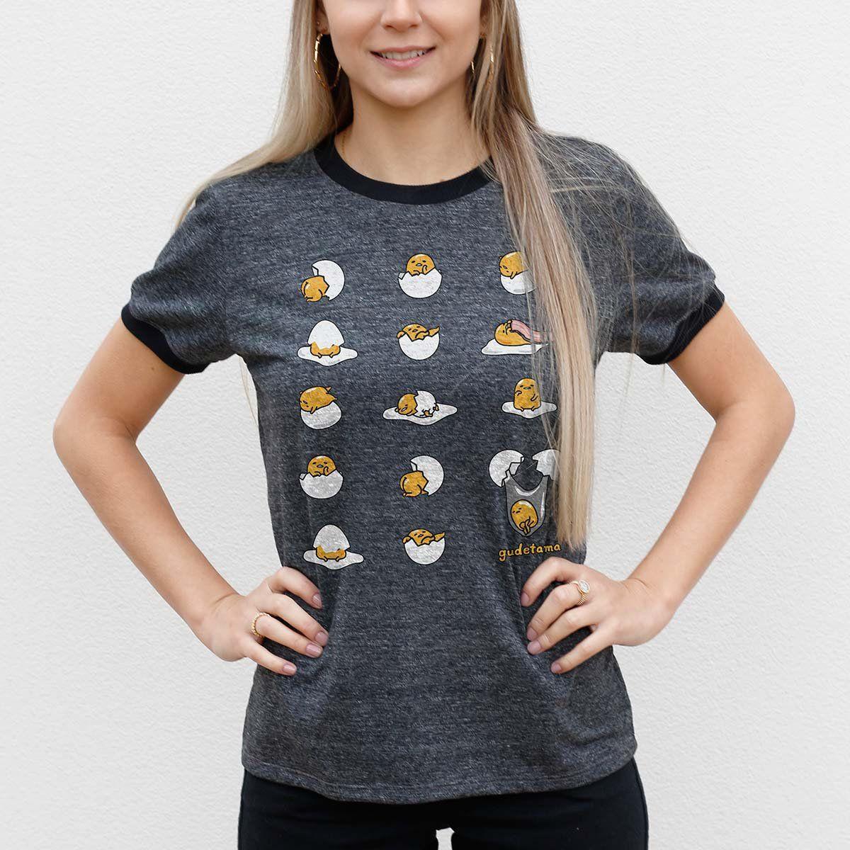 Camiseta Ringer Feminina Gudetama Many Poses  - bandUP Store Marketplace