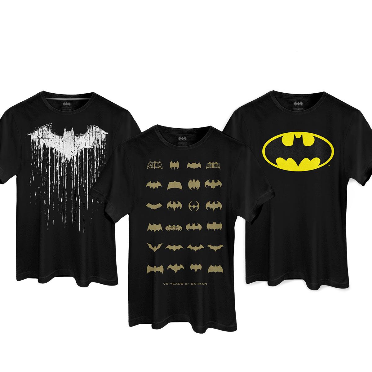 Kit com 3 Camisetas Masculinas Guarda-Roupas da Batcaverna  - bandUP Store Marketplace