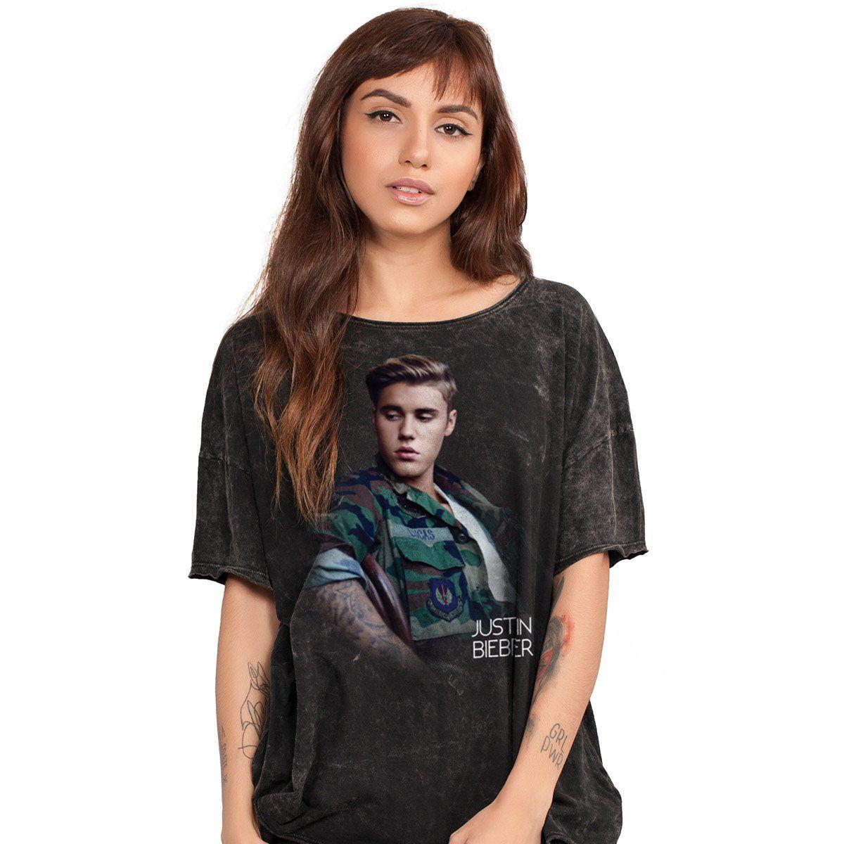 Blusa Feminina Justin Bieber Camouflage  - bandUP Store Marketplace