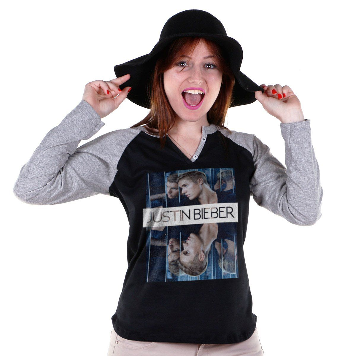 Camiseta Manga Longa Feminina Justin Bieber Double Bieber  - bandUP Store Marketplace