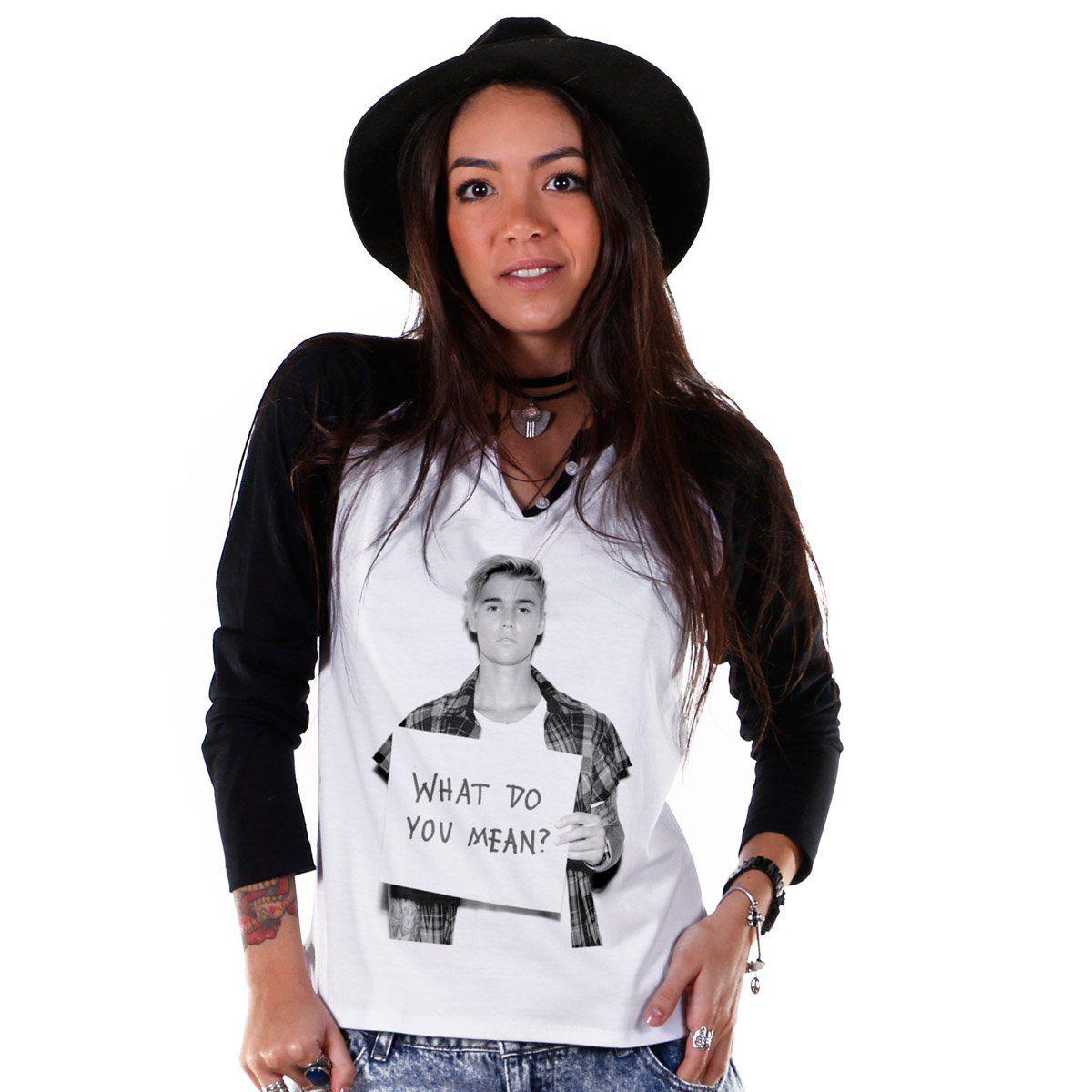 Camiseta Manga Longa Feminina Justin Bieber What Do You Mean  - bandUP Store Marketplace