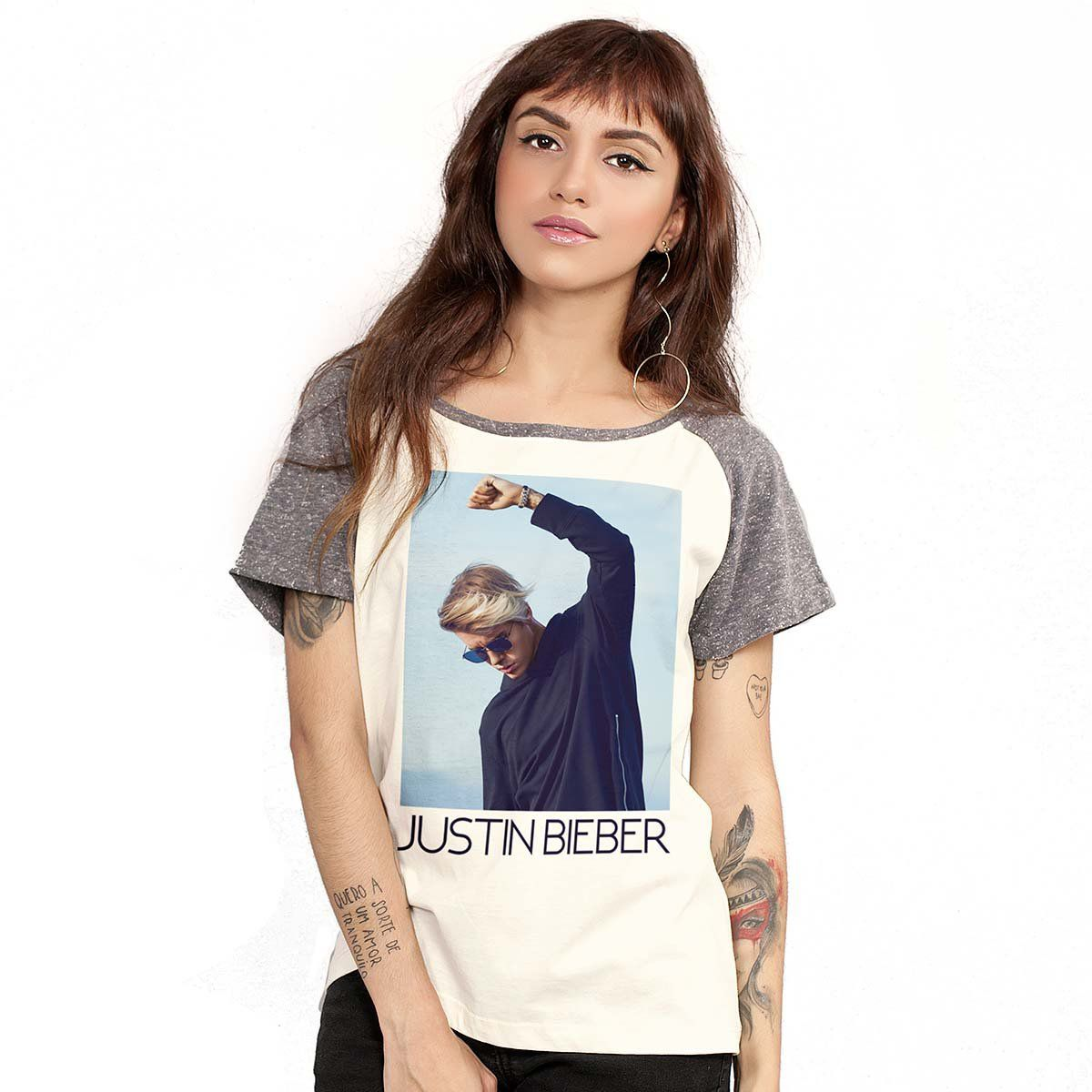 Camiseta Raglan Feminina Justin Bieber You Give Me Purpose  - bandUP Store Marketplace
