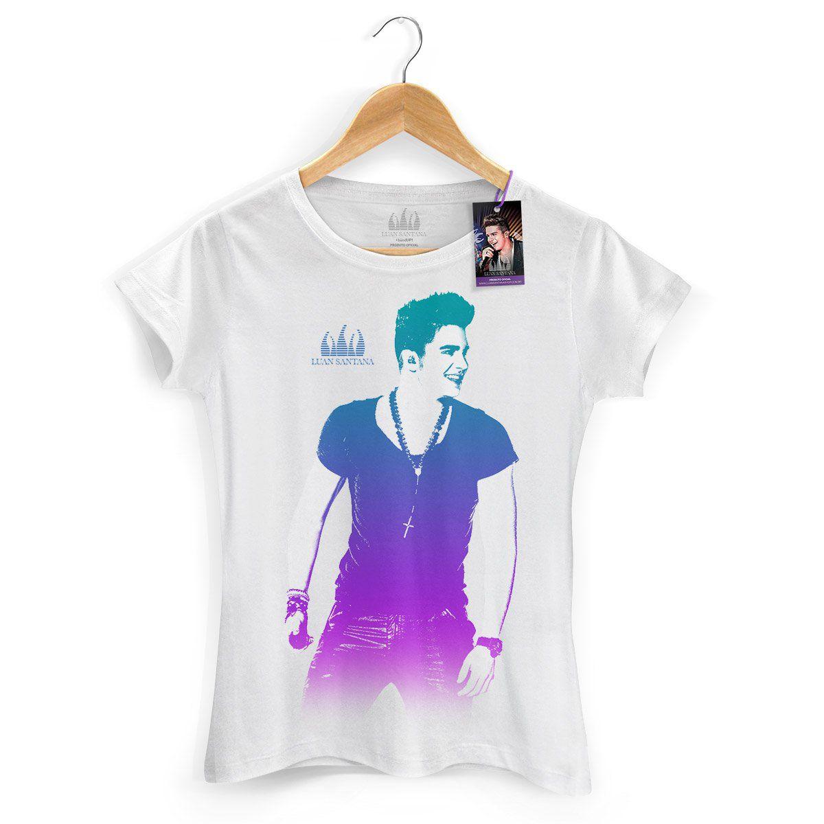Camiseta Feminina Luan Santana Foto Degradê Branca  - bandUP Store Marketplace