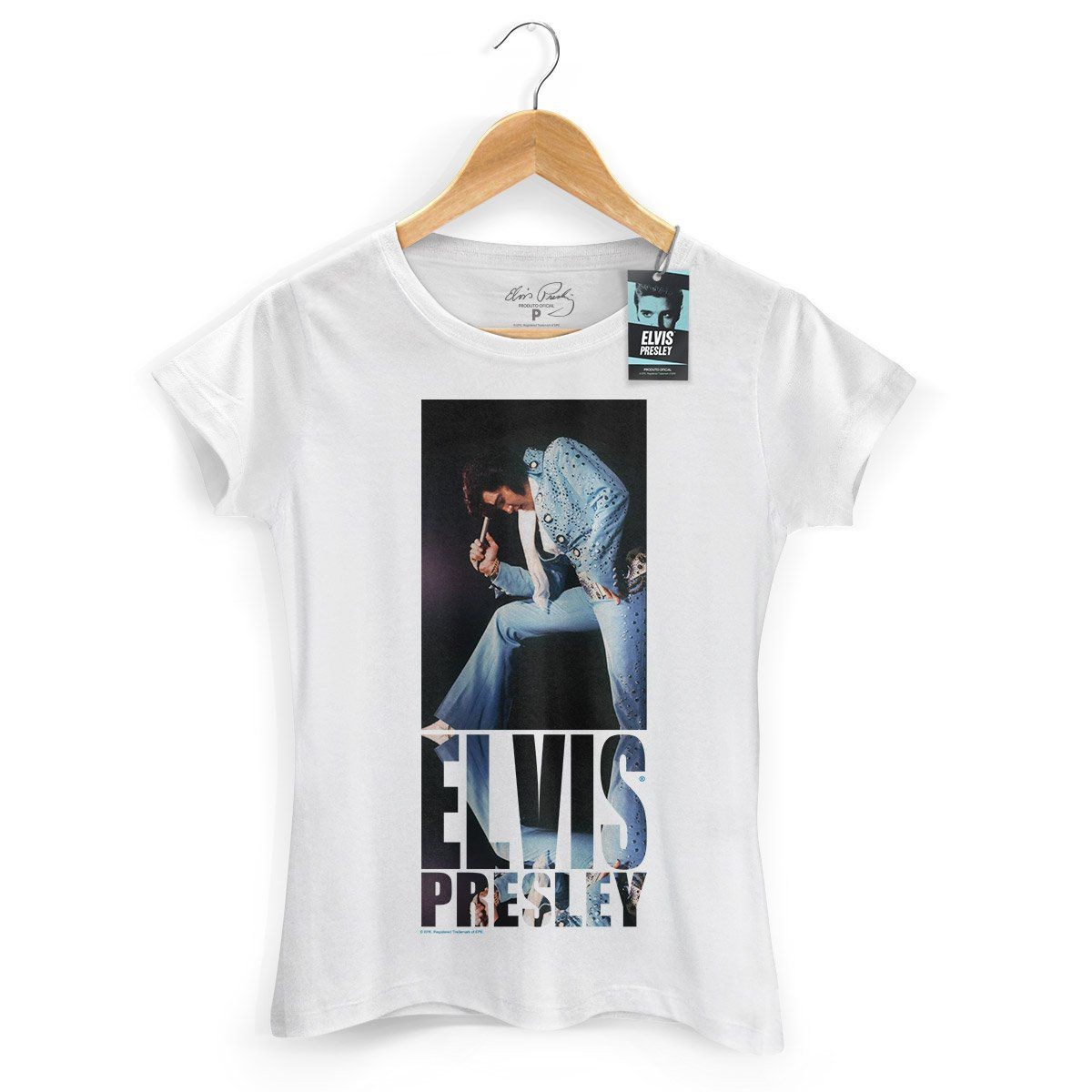 Camiseta Feminina Elvis Presley Blue Jumpsuit  - bandUP Store Marketplace