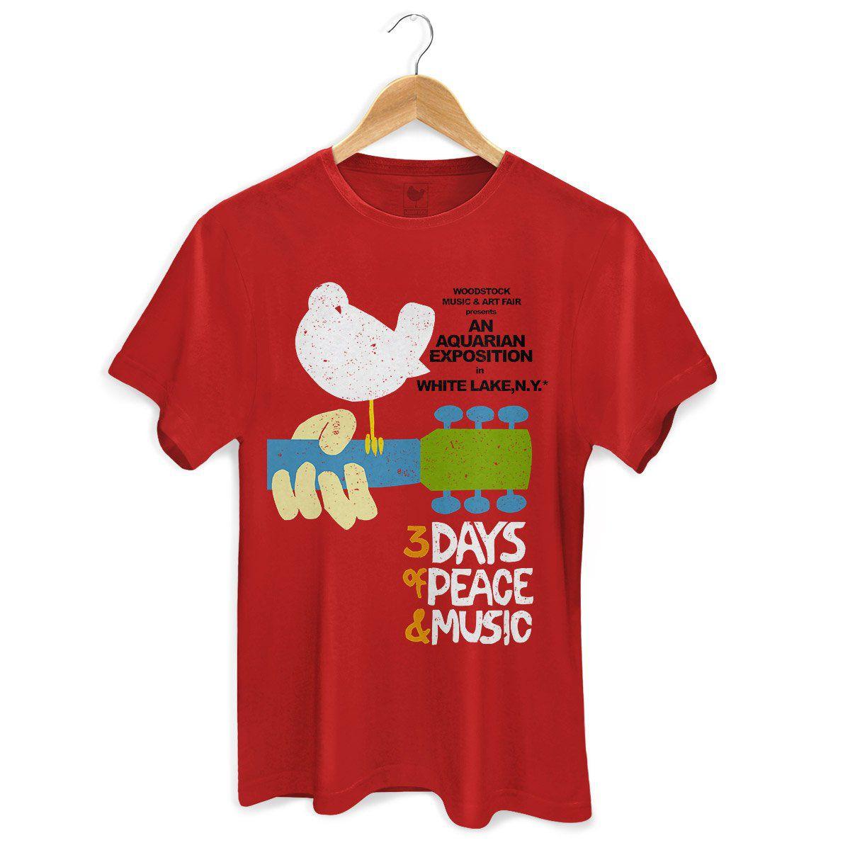 Camiseta Masculina Woodstock Poster  - bandUP Store Marketplace