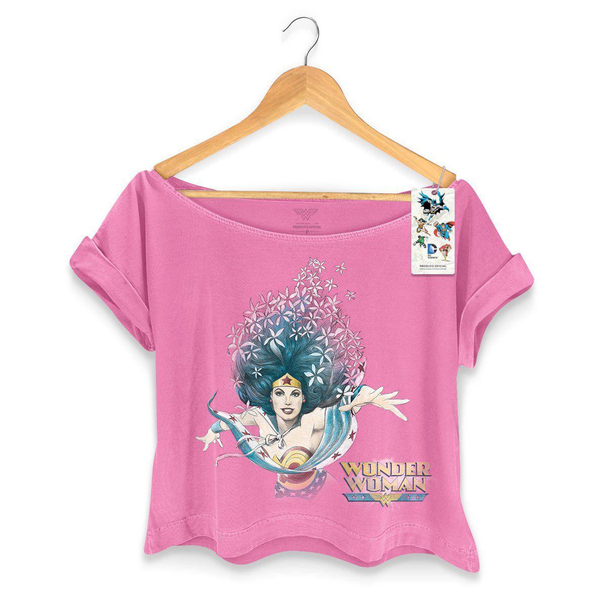 T-shirt Premium Feminina Wonder Woman Flowers  - bandUP Store Marketplace