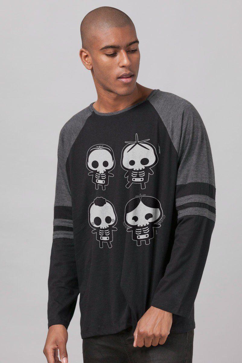 Camiseta Manga Longa Masculina Turma da Mônica Esqueletos  - bandUP Store Marketplace