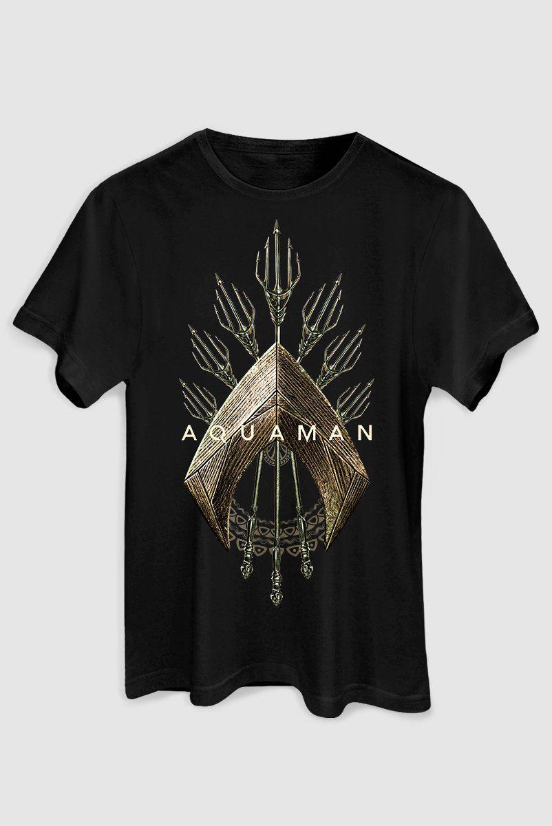 Camiseta Aquaman Logo Tridente Masculina Oficial  - bandUP Store Marketplace